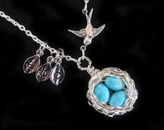 Bird nest  necklace, 3 leaf charms and mama bird silver wire wrapped turquoise blue robin eggs beaded sterling grandmother mother day gift