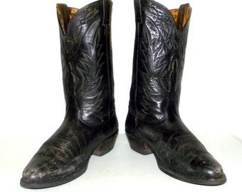 Distressed Black Leather Nocona Cowboy Boots - mens size 9 EE / womens size 10.5 wide width