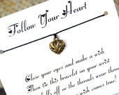 Follow Your Heart - Wish Bracelet - (Small Antique Gold Heart) - Shown In The Color BLACK  - Over 100 Different Colors Are Also Available