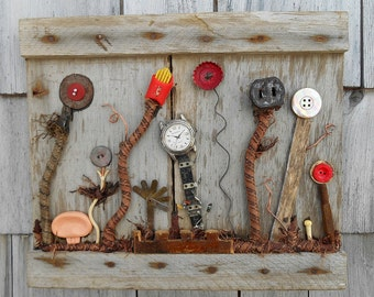 Garden art Assemblage, Found Objects on reclaimed wood, Recycled Upcycled Art