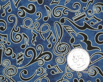 """100% Cotton Print by Dan Morris RJR Perfect Pitch 2011 45"""" wide BTY Musical Notes G Clefts Sharps Blue"""