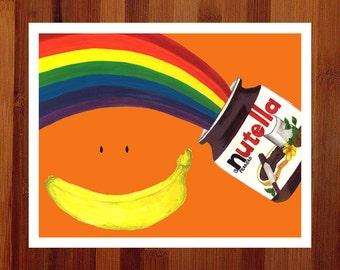 Nutella Art, Whimsical Print, Kitchen Art, Prints Illustrations, 11x14 Print, Food Art, Kitchen Print, Rainbow, Orange Art, Giclee Art Print