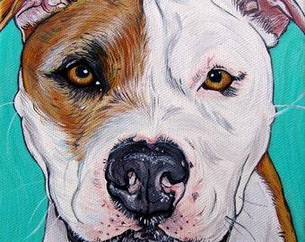 Custom Pet Portrait 6x6inch Original Painting Acrylic Gift Art Dog Portrait
