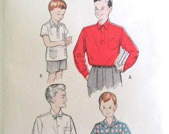 Vintage Sewing Pattern Boy's Shirt Size 12 Butterick Printed Pattern 5839