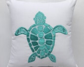 Mint Green Sea Turtle embroidery on White pillow cover beach pillow Nautical inspired cushion covers custom made 18inch