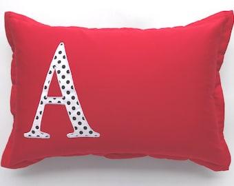 Polka dot monogram bed pillow- custom made