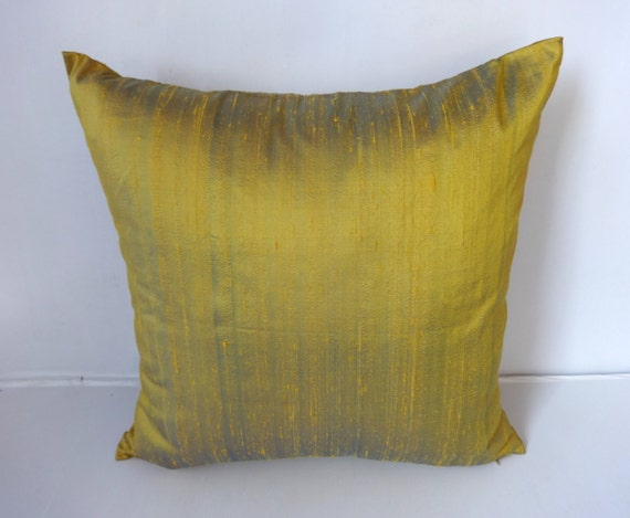 20% off Masted Yellow with Blue shot pillw. two tone dupioni silk  fabric-18 inch-  2 in stock ready  to  ship.