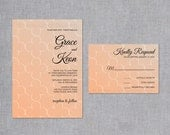 Clover Wedding Invitation Set in Tangerine and Toasted Almond - Four Leaf Clover Invitations and Response Cards - Tangerine Wedding Invites