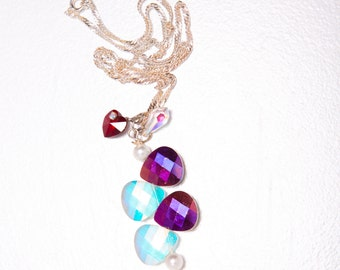 Fire and Ice II Czech Glass, Swarovski Crystal Necklace on Sterling Silver Twisted Rope Chain