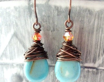Clearance Sale Wire Wrapped Earring Jewelry Handmade Dangle Earrings Boho Jewelry Earrings Zen Jewelry Artisan Jewelry  Wire Wrapped Earring