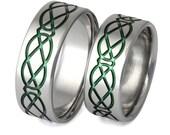 Green Irish Celtic Titanium Wedding Band Set - His and Hers - Matching Bands - stck19