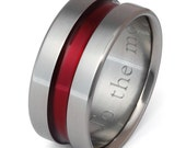 Firefighter's Thin Red Line Titanium Wedding Band - Promise Ring - Wide Ring