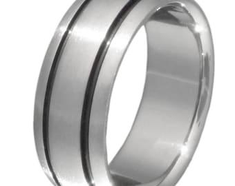 Black Titanium Wedding Band - Black Ring - bk10