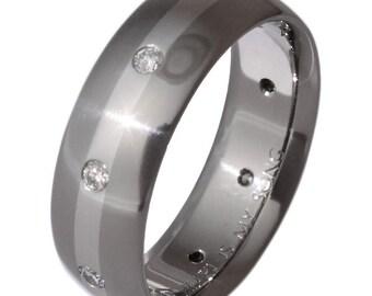 Diamond Ring-Titanium Wedding Band-Platinum Inlay - s84