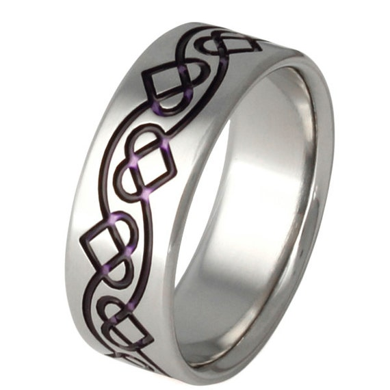 Titanium Irish Celtic Wedding Band - Purple Chain of Hearts Ring - ck35 Purple