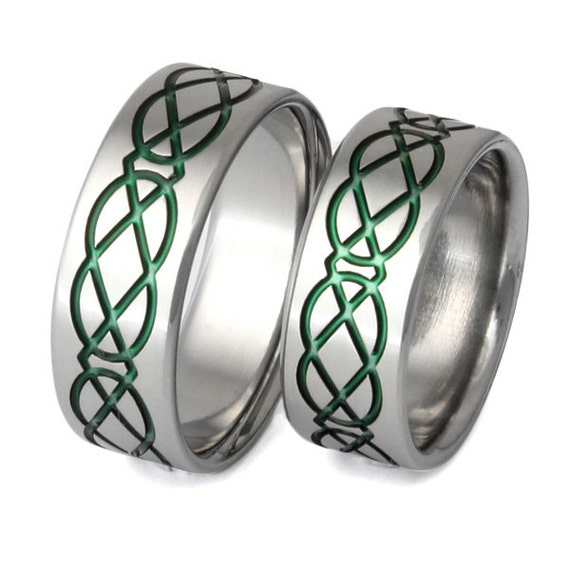 Green Irish Celtic Titanium Wedding Band Set - His and Hers - Matching Bands - stck19