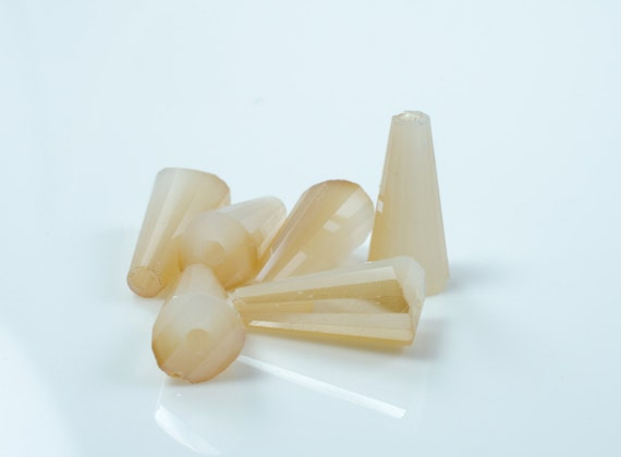 Champagne Mother of Pearl Faceted Crystal Cone Beads