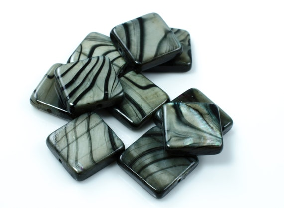 Zebra Striped Mother of Pearl MOP Square beads