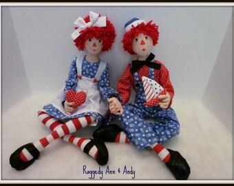 """Raggedy Ann or Andy  18"""" tall Art Doll"""