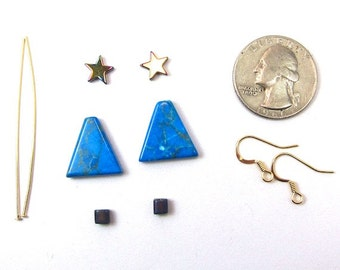 Turquoise Howlite Gemstone Christmas Tree Earring Kit