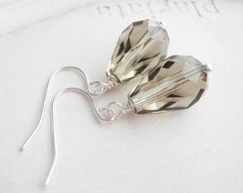 Silver Earrings -Smoky Grey Teardrops