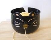 Super Cute Black Cat Yarn Bowl by misunrie