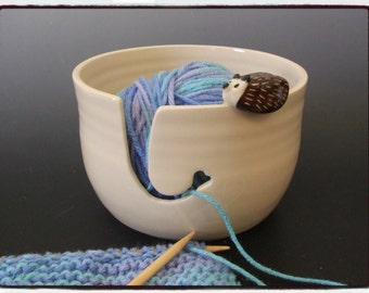Yarn Bowl with Cute Hedgehog in White by misunrie