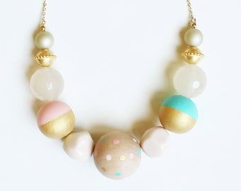 Pastel Wooden Necklace