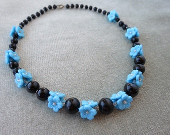 "17"" Czech Vintage Glass Beads Necklace / Black with Blue Flowers / Art Deco"