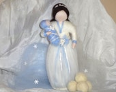 Winter Fairy with snowballs, Winter Nature Table, White and Blue Flower, Doll with Baby, Waldorf, Magic Wool, needle felted