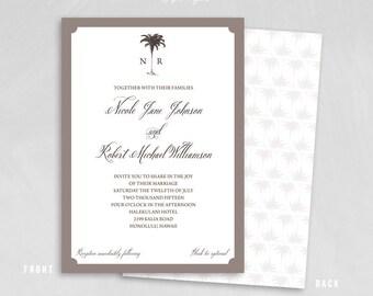 Palm Tree Wedding Invitation Set - Vintage Palm tree - Destination Wedding