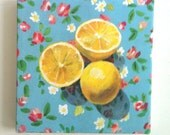 Still life of Lemons and flowers / Tiny canvas print -FOLK ART PRINT -blue yellow green Colors - canvas art print - Kitchen decor