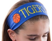 Custom Personalized EMBROIDERED BASKETBALL Cotton Stretch Headband - Your Text