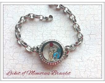 Floating Bracelet Locket...comes with charms and birthstones...Locket of Memories...Living Locket, Glass Locket, Floating Charms Birthstones