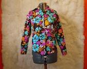 Vintage 1960s Wild Long Sleeve Flower Power Shirt Bold Shirt Bright Shirt Floral Shirt Button Up Barkcloth Fabric