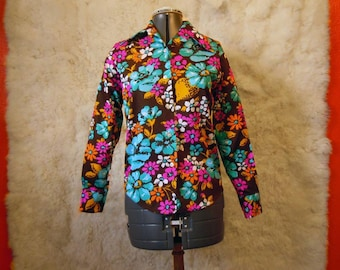 Vintage 1960s Wild Long Sleeve Flower Power Shirt Bold Shirt Bright Shirt Floral Shirt Button Up Barkcloth Fabric