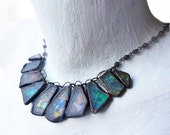 Shards of Stars. Rustic cosmic assemblage art choker necklace in iridescent blue greens.