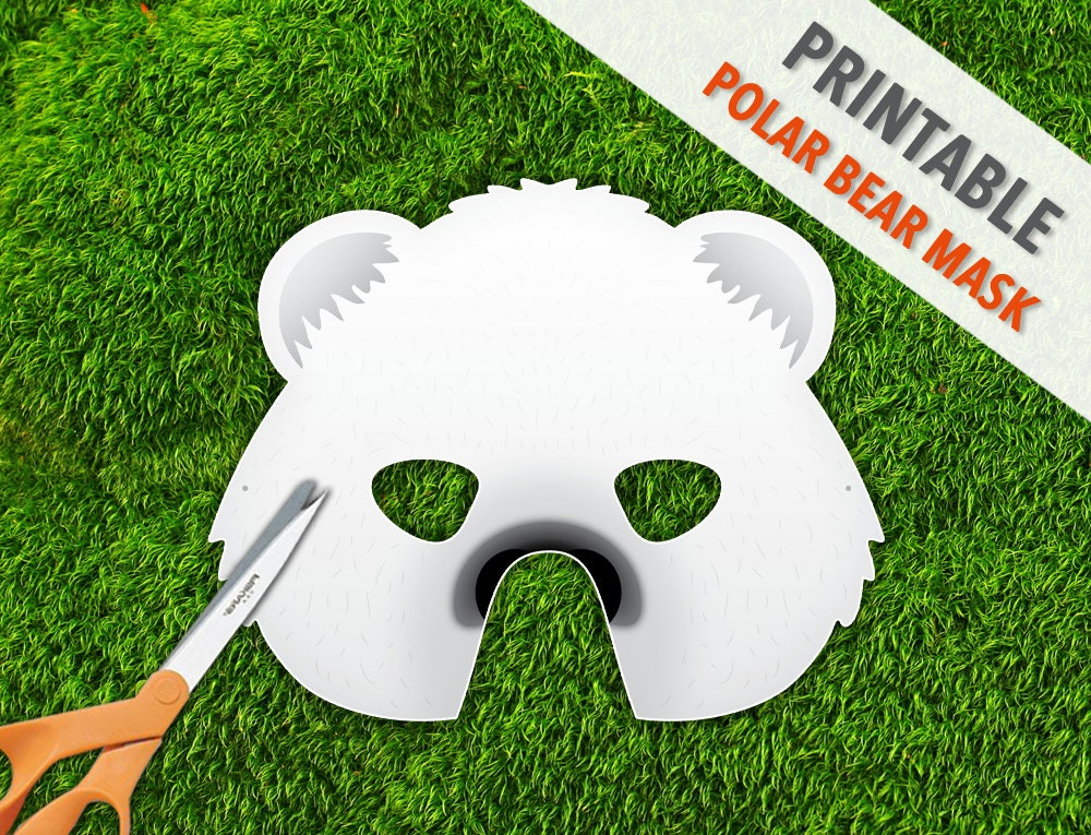 Polar bear printable mask halloween mask party mask zoom pronofoot35fo Gallery