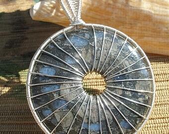 Llanite gemstone blue gray donut shape gemstone wire wrapped pendant handmade