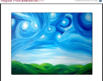 Signed PRINT With MATTE of Original Modern Abstract Night Stars Landscape Painting By Dan Lafferty - Starry Night Above The Hills