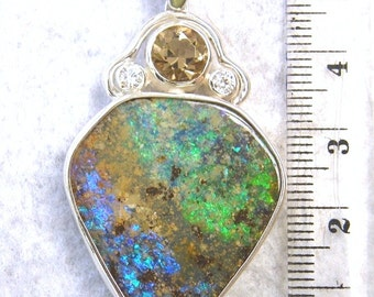 Opal Pendant, Beautiful Boulder Opal and Smoky Quartz Sterling Silver Pendant  - Item 112141 - FREE SHIPPING