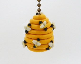Beehive Fan Pull Chain - Honey Bee - Bumble Bee - Bee Nursery Decor - Children's Bee Themed Room Decor - Polymer Clay