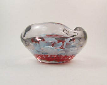 Vintage Glass Ashtray Hand Blown Glass Blue Flowers with Clear Bubbles and Red on Bottom