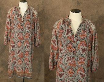 vintage 70s Gauze Tent Dress - Brown and Black Floral Boho Dress 1970s Hippie Festival Dress Sz M L