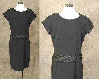 CLEARANCE SALE vintage 60s Dress - 1960s Black Rayon Shift Dress - Hourglass Wiggle Dress - Little Black Dress LBD Sz L