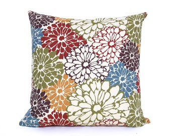 Spring Throw Pillow, Floral Sofa Pillows, Floral Pillow Cover, Blue Red Green, Decorative Throw Pillows, Modern Cushion Covers 18x18, 20x20