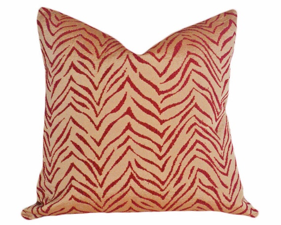Zebra Print Pillow, 18x18, Exotic Animal Print Pillows, Red Tan Decorative Throw Pillows, Luxury Cushion Cover, CLEARANCE SALE