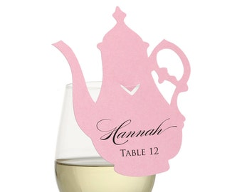 Teapot Place Cards - tea party, wonderland, alice, fanciful