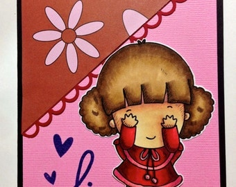 Shy Peek-a-boo Girl Valentines Everyday Hi Hello Card