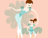 """8X10"""" ballerina mother and daughter giclee print on fine art paper. peachy-pink, muted turquoise/teal blue, brunette, yellow"""